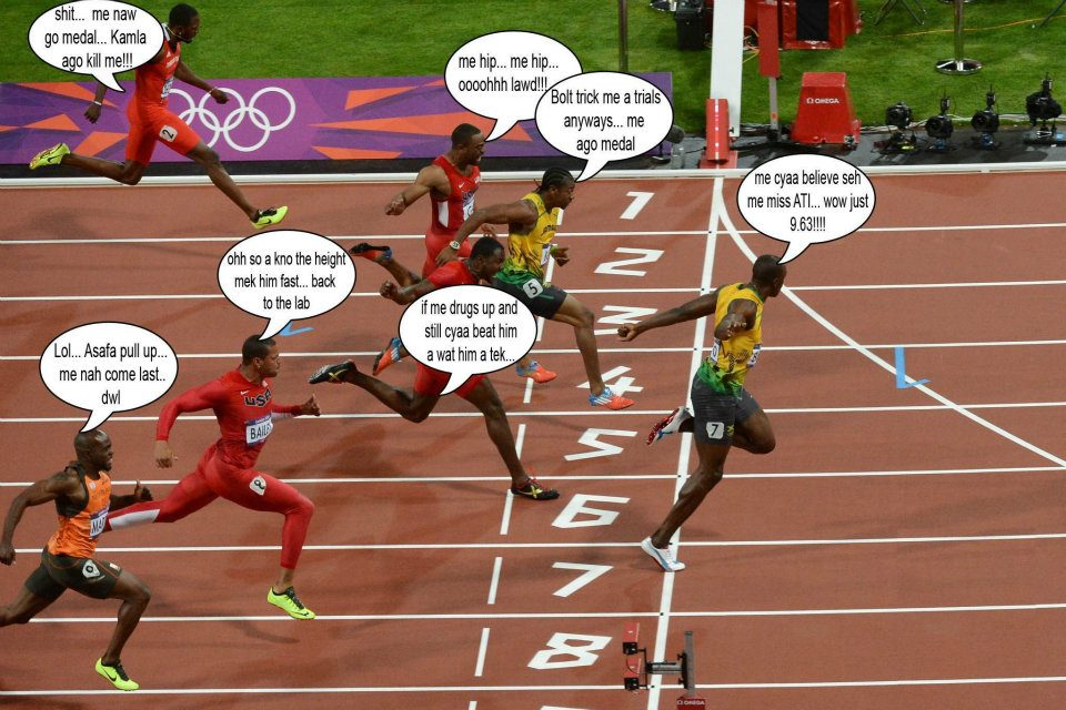 Pure Jokes: What Was They Thinking During the 100m Race