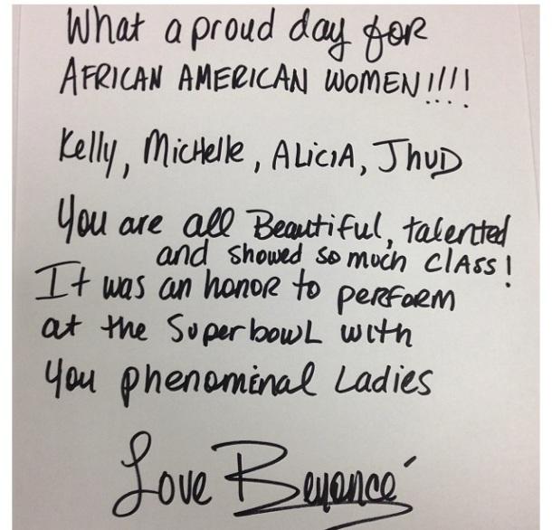 Beyonce Super Bowl Note