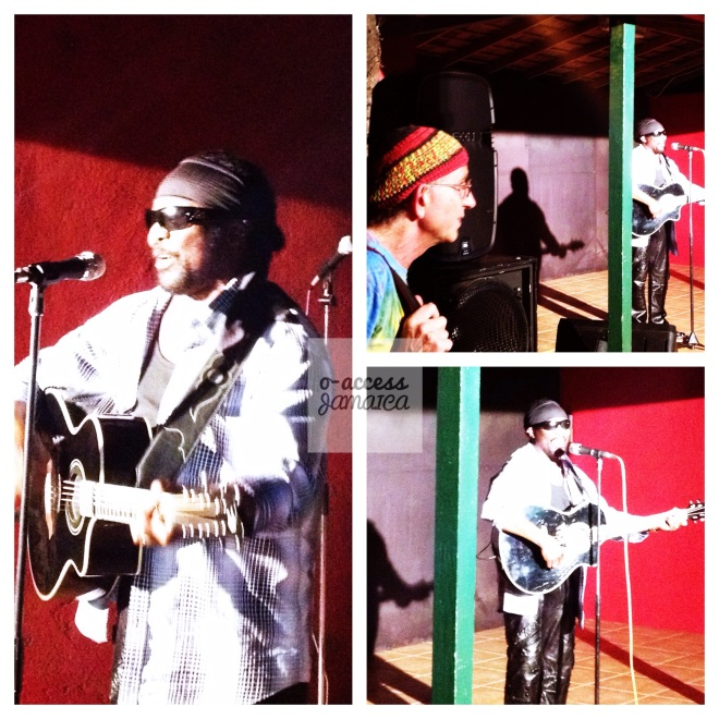 Photographer Peter Simon watches Toots perform an acoustic set.