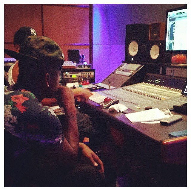 Neyo in studio with Don Corleon