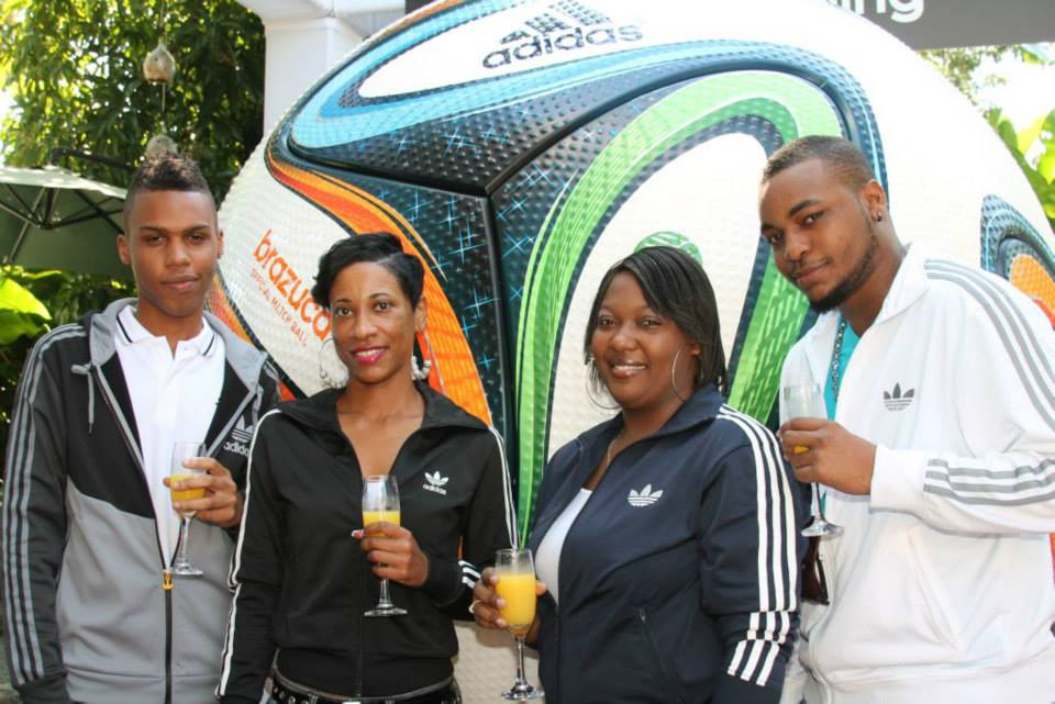 Ching Ching ... The Adidas Jamaica celebrate the unveiling of the Adidas Brazuca World Cup Football with Mimosa's.