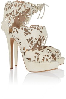 Charlotte Olympia Belinda cut-out suede sandals.