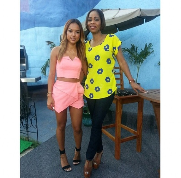 Karrueche Tran this morning with Smile Jamaica Host Simone Clarke-Cooper