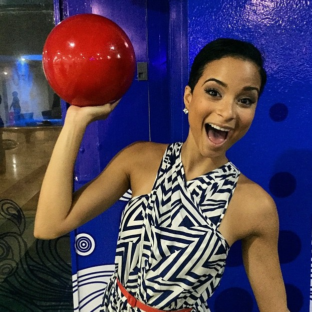 Miss Universe Jamaica Kaci Fennel going for her strike at JamZone.