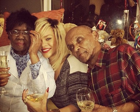 Rihanna and her grandparents Clara & Lionel Braithwaite via Instagram