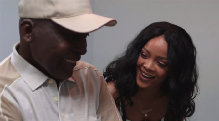 Rihanna with a cancer patient that her foundation has been helping.
