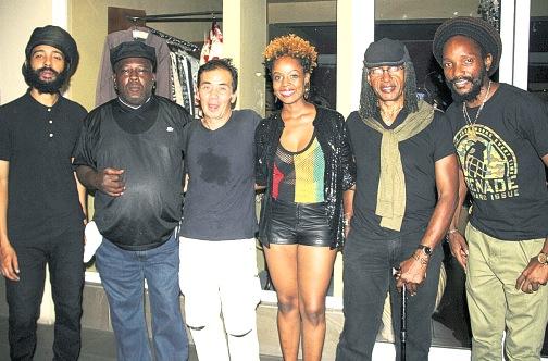 Protoje, Robbie Shakespear, Kaz Asonuma (Spicy Chocolate) Cherine Anderson, Sly Dunbar, & Kabaka Pyramid pose for  photo at the launch. Photo By: Steve James