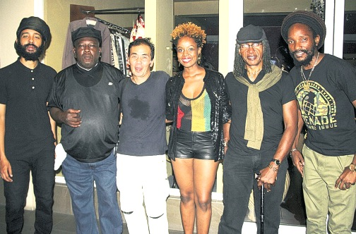 Protoje, Robbie Shakespear, Kaz Asonuma (Spicy Chocolate) Cherine Anderson, Sly Dunbar, & Kabaka Pyramid pose for  photo at the launch. Photo By: Steve James