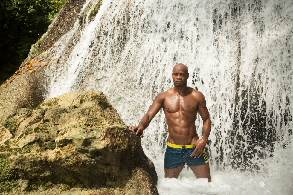 Asafa Powell at Reach Falls in Portland, for his 2016 Calendar.